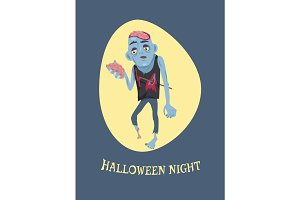 Halloween Night and Zombie Vector Illustration