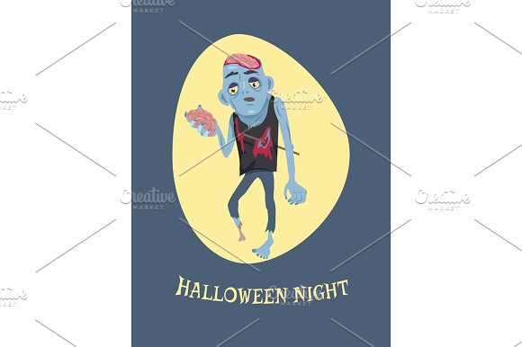 Halloween Night and Zombie Vector Illustration