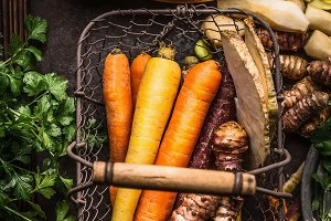 Root vegetables on kitchen table