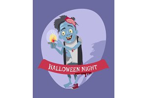 Halloween Night Crazy Zombie Vector Illustration