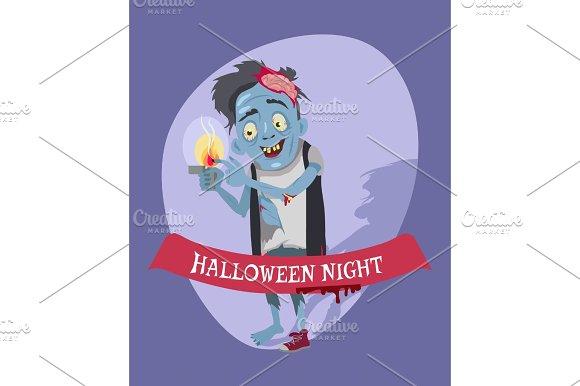 Halloween Night Crazy Zombie Vector Illustration