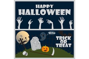 Happy Halloween Trick or Treat Vector Illustration
