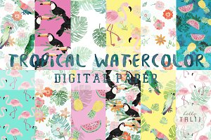 Tropical Watercolor Digital Paper
