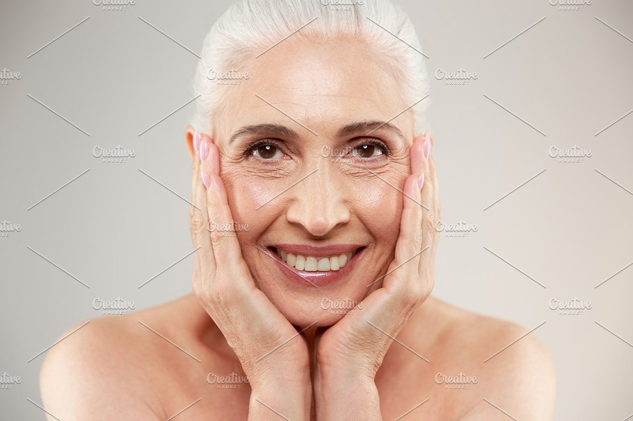 Amazing naked elderly woman posing ~ Beauty & Fashion Photos ~ Creative  Market