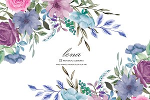 Watercolor French Blue Florals