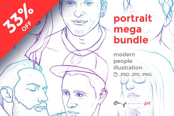People portraits mega bundl-Graphicriver中文最全的素材分享平台