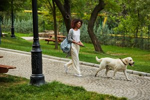 Pretty young lady walking with dog in park in the morning