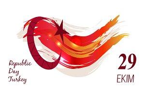 Turkey Republic Day Poster Vector Illustration