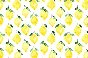 Watercolor lemons pattern