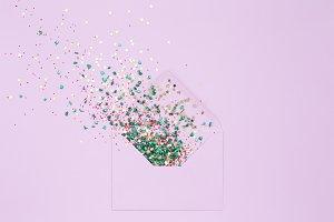 Sequins explosion, lilac envelope