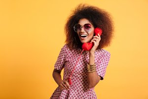 Portrait of a smiling happy afro american woman
