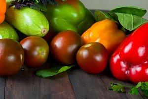 Ripe autumn fresh vegetables
