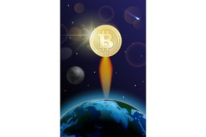 Bitcoin is fast growing. Crypto currency is breaking into space concept.