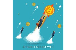 Bitcoin is fast growing. Digital currency, technology worldwide network concept. Businessman takes off with a coin bitcoin.