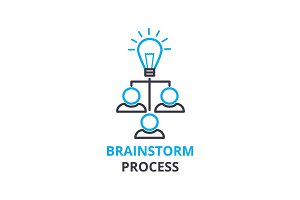 Brainstorm process concept , outline icon, linear sign, thin line pictogram, logo, flat vector, illustration
