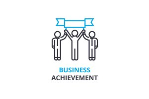 Business achievement concept , outline icon, linear sign, thin line pictogram, logo, flat vector, illustration