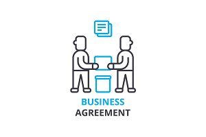 Business agreement concept , outline icon, linear sign, thin line pictogram, logo, flat vector, illustration