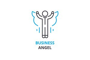 Business angel concept , outline icon, linear sign, thin line pictogram, logo, flat vector, illustration