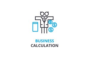 Business calculation concept , outline icon, linear sign, thin line pictogram, logo, flat vector, illustration