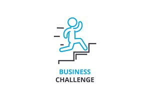 Business challenge concept , outline icon, linear sign, thin line pictogram, logo, flat vector, illustration