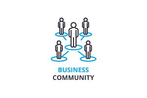 Business community concept , outline icon, linear sign, thin line pictogram, logo, flat vector, illustration
