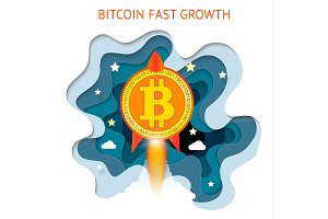 Bitcoin is fast growing. Cryptocurrency financial system grows. Digital currency, technology worldwide network concept