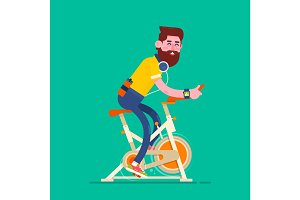 Man exercising on stationary bike.Boy on Bicycle Simulator.Fitness design over beige background, vector illustration.