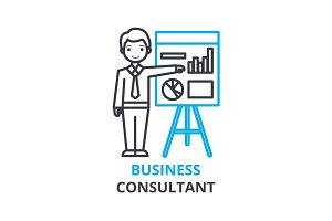 Business consultant concept , outline icon, linear sign, thin line pictogram, logo, flat vector, illustration
