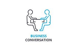 Business conversation concept , outline icon, linear sign, thin line pictogram, logo, flat vector, illustration