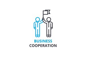 Business cooperation concept , outline icon, linear sign, thin line pictogram, logo, flat vector, illustration
