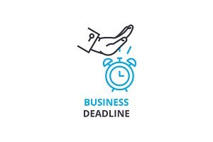 Business deadline concept , outline icon, linear sign, thin line pictogram, logo, flat vector, illustration