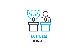 Business debates concept , outline icon, linear sign, thin line pictogram, logo, flat vector, illustration