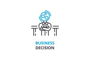 Business decision concept , outline icon, linear sign, thin line pictogram, logo, flat vector, illustration