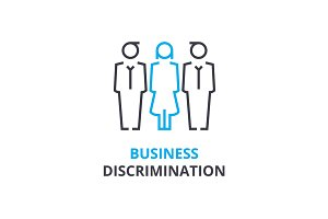 Business discrimination concept , outline icon, linear sign, thin line pictogram, logo, flat vector, illustration