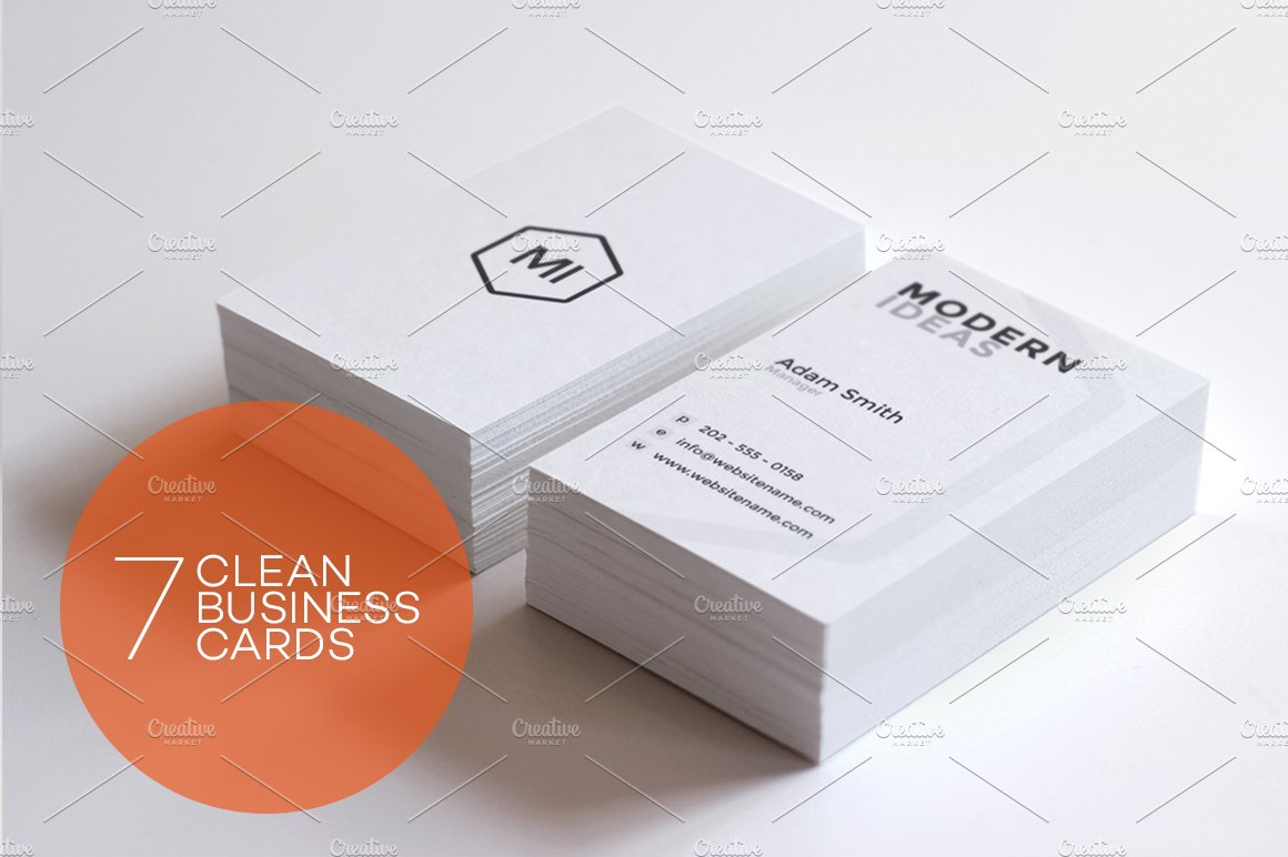 7 Clean Minimal Business Cards ~ Business Card Templates ~ Creative ...
