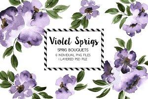Violet Sprig Bouquets