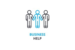 Business help concept , outline icon, linear sign, thin line pictogram, logo, flat vector, illustration