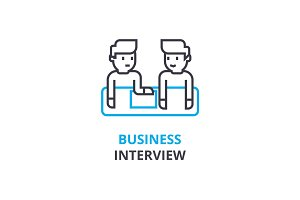 Business interview concept , outline icon, linear sign, thin line pictogram, logo, flat vector, illustration