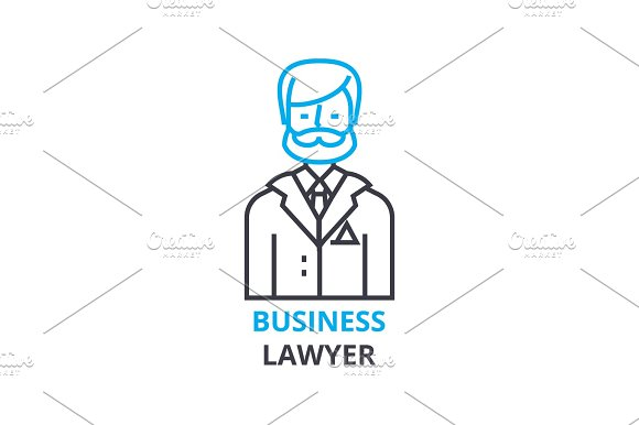Business Lawyer Concept Outline Icon Linear Sign Thin Line Pictogram Logo Flat Vector Illustration