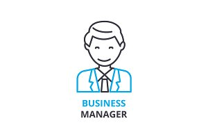 Business manager concept , outline icon, linear sign, thin line pictogram, logo, flat vector, illustration