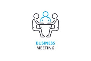 Business meeting concept , outline icon, linear sign, thin line pictogram, logo, flat vector, illustration