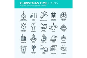 Christmas and New Year. Winter holidays. Santa. December. Thin line web icon set. Outline icons collection.Vector illustration.