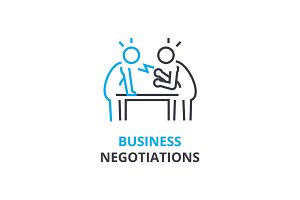 Business negotiations concept , outline icon, linear sign, thin line pictogram, logo, flat vector, illustration