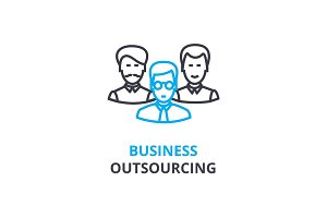 Business outsourcing concept , outline icon, linear sign, thin line pictogram, logo, flat vector, illustration