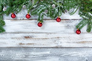 Snowy Fir Branches with Ornaments