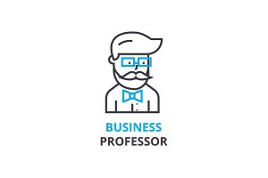 Business professor concept , outline icon, linear sign, thin line pictogram, logo, flat vector, illustration