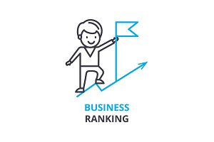 Business ranking concept , outline icon, linear sign, thin line pictogram, logo, flat vector, illustration