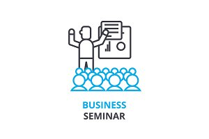 Business seminar concept , outline icon, linear sign, thin line pictogram, logo, flat vector, illustration