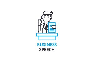 Business speach concept , outline icon, linear sign, thin line pictogram, logo, flat vector, illustration