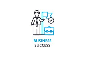 Business success concept , outline icon, linear sign, thin line pictogram, logo, flat vector, illustration